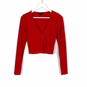 Red V-Neck Long Sleeve Crop Top M